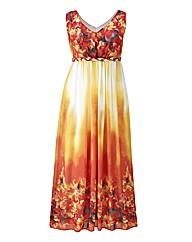 Border Print Maxi Dress