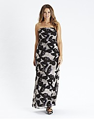 Butterfly Print Strapless Maxi Dress