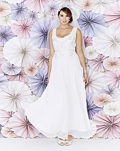 Beaded Sleeveless Wedding Dress