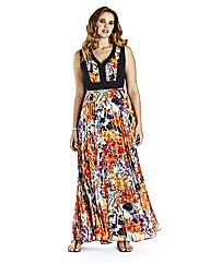 Oriental Pleated Maxi Dress