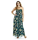 Strapless Foil Print Maxi Dress