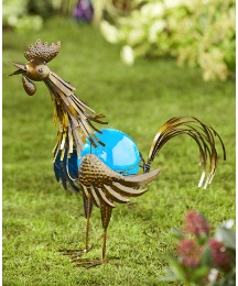 Solar Metal Rooster with Blue Ball Light