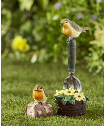 Little Sensor Bird and Robin on a Fork