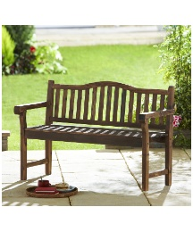 Burntwood Solid Wood Bench