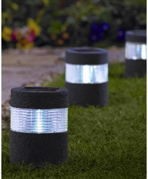 Set of 2 Stone Effect Solar Lights