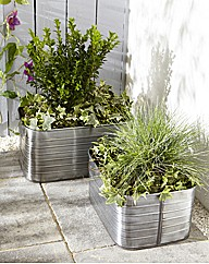 Set of Two Zinc Planter Troughs