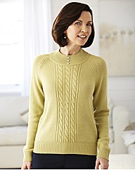 Cable Sweater With Pearl Buttons