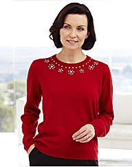 Sweater with Bead Detail To Neckline