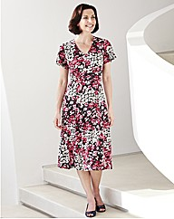 Print Dress With Buckle Length 43in