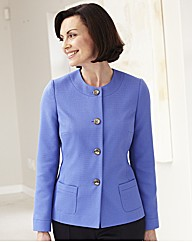 Round Neck Jacket With Contrast Buttons