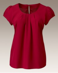 Pleat Neck Short Sleeve Blouse