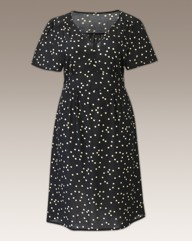 Spot Print V Neck Tea Dress