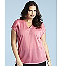 Button Trim Jersey Top Length 27in