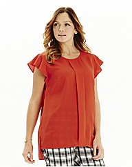 Pleat Front Stepped Hem Blouse