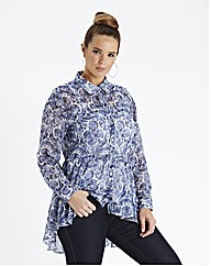 Dipped Back Peplum Blouse - Blue Floral