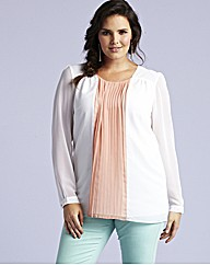 Long Sleeved Pleated Blouse