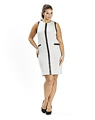 PU Trim Shift Dress