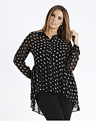Dipped Back Peplum Blouse - Black/White