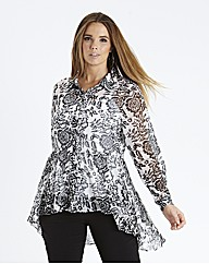Tall Dipped Back Blouse - Black Floral