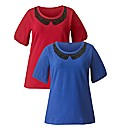 Pack of 2 Flocked Trim Jersey Tops
