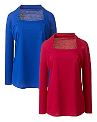 Pack of 2 Mock Shrug Jersey Tops
