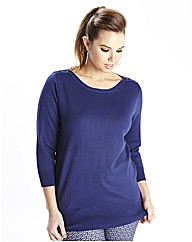Slash Neck Button Trim Jumper