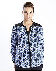 Blue/White Geo Print Blouse