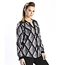 Black/White Geo Print Blouse
