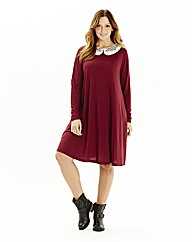 Contrast Collar Swing Dress