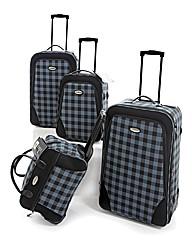 Four Piece Grey Check Print Luggage Set