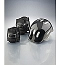 Boys Black Helmet and Pads Set