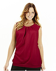 Pleat Neck Jersey Top - Plain