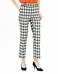 Check Slim Leg Trousers With PU Trim