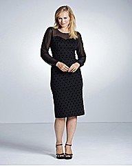 Magisculpt Flocked Spot Dress