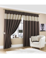Lace Effect Border Pencil Pleat Curtains