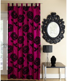 Ruby Flocked Taffeta Tab Top Curtain