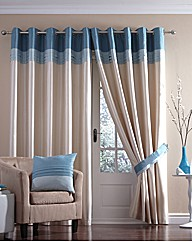 Cannes Lined Faux Silk Eyelet Curtains