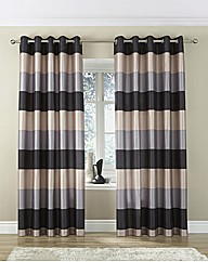 Faux Silk Striped Eyelet Lined Curtains