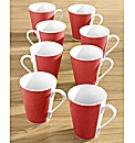 Set of 8 Red Banded Mugs