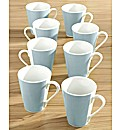 Set of 8 Soft Blue Banded Mugs