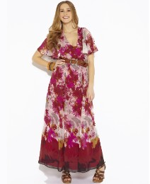 Angel Sleeve Printed Maxi Dress