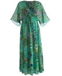 Maternity Peacock Print Maxi Dress
