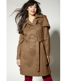Double Breasted Capelet Trench Coat