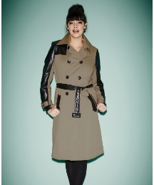 PU Sleeve Double Breasted Trench Coat