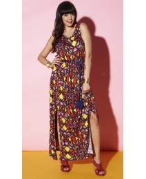 Printed Split Front Dress