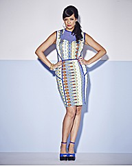 Tribal Print Body Con Panel Dress