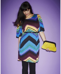 Zig Zag Print Dress with Belt