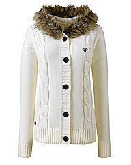 Voi Knitted Cardigan with Fur Trim
