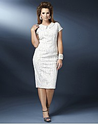Bonded Lace Dress With Beaded Collar