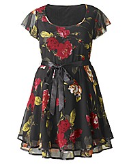 AX Paris Rose Print Frill Sleeve Dress